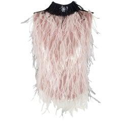 ERDEM Size 6 Pink Sequin Ostrich Feather Navy Collar Dress Top