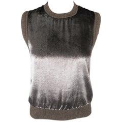 MAIYET Size XS Taupe Cashemere Blnd Silver Velvet Vest Top