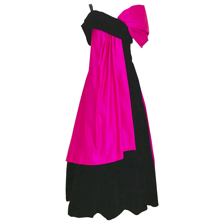 Vintage Scaasi Silk Hot Pink and Black Velvet Gown