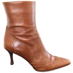 Lambertson Truex Size 37 / 7 Tan Cognac Brown Pointy Toe Leather Ankle Boots