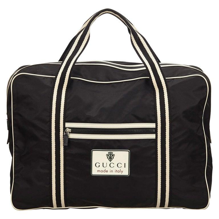 70c7d89969b Gucci Black x White Nylon Travel Bag For Sale at 1stdibs