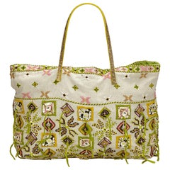 Fendi White x Multi Embroidered Cotton Tote Bag