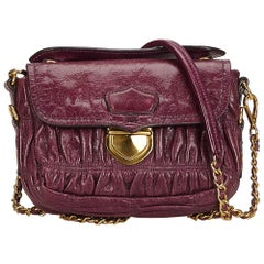 Prada Purple Mini Gathered Leather Chain Crossbody Bag