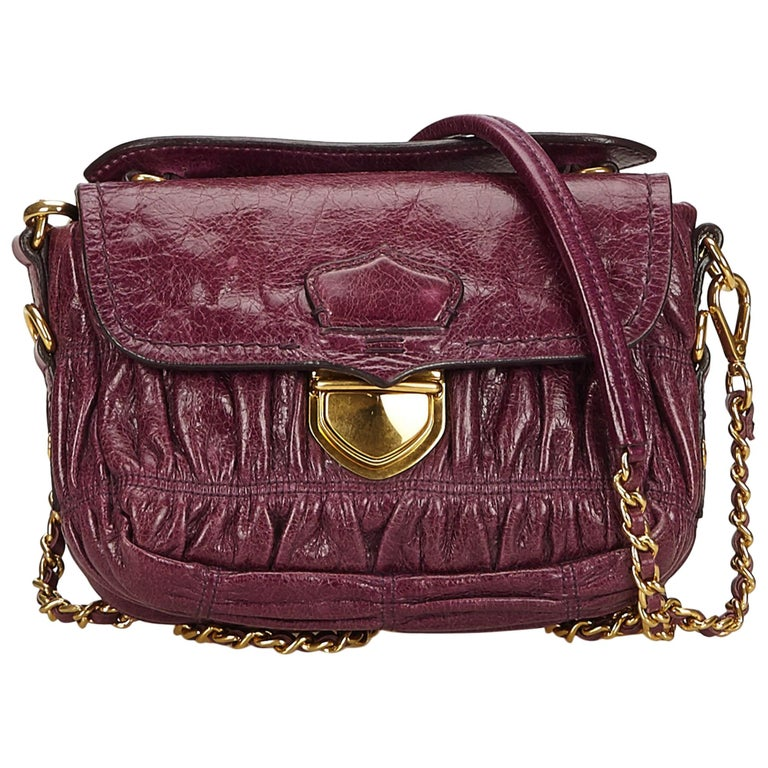 520f45c94032 Prada Purple Mini Gathered Leather Chain Crossbody Bag at 1stdibs