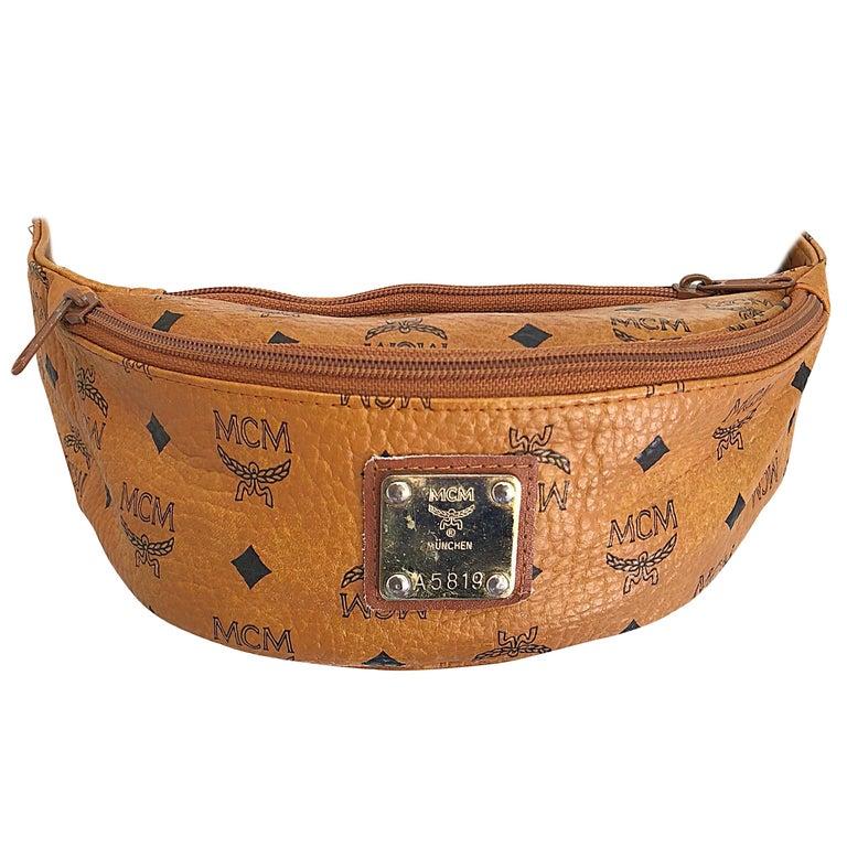Rare Vintage MCM Michael Cromer Tan Brown + Black Logo Fanny Pack Waist Bag  For Sale