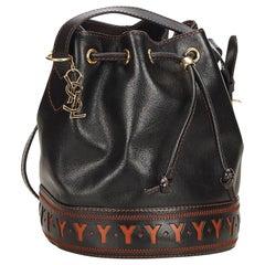 YSL Black x Brown Leather Drawstring Bucket Bag