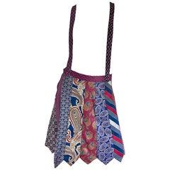 Incredible Silk Suspenders Skirt Made of Vintage Neck Ties