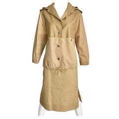 Courreges Vintage Tan Cotton Sport Coat and Skirt Set