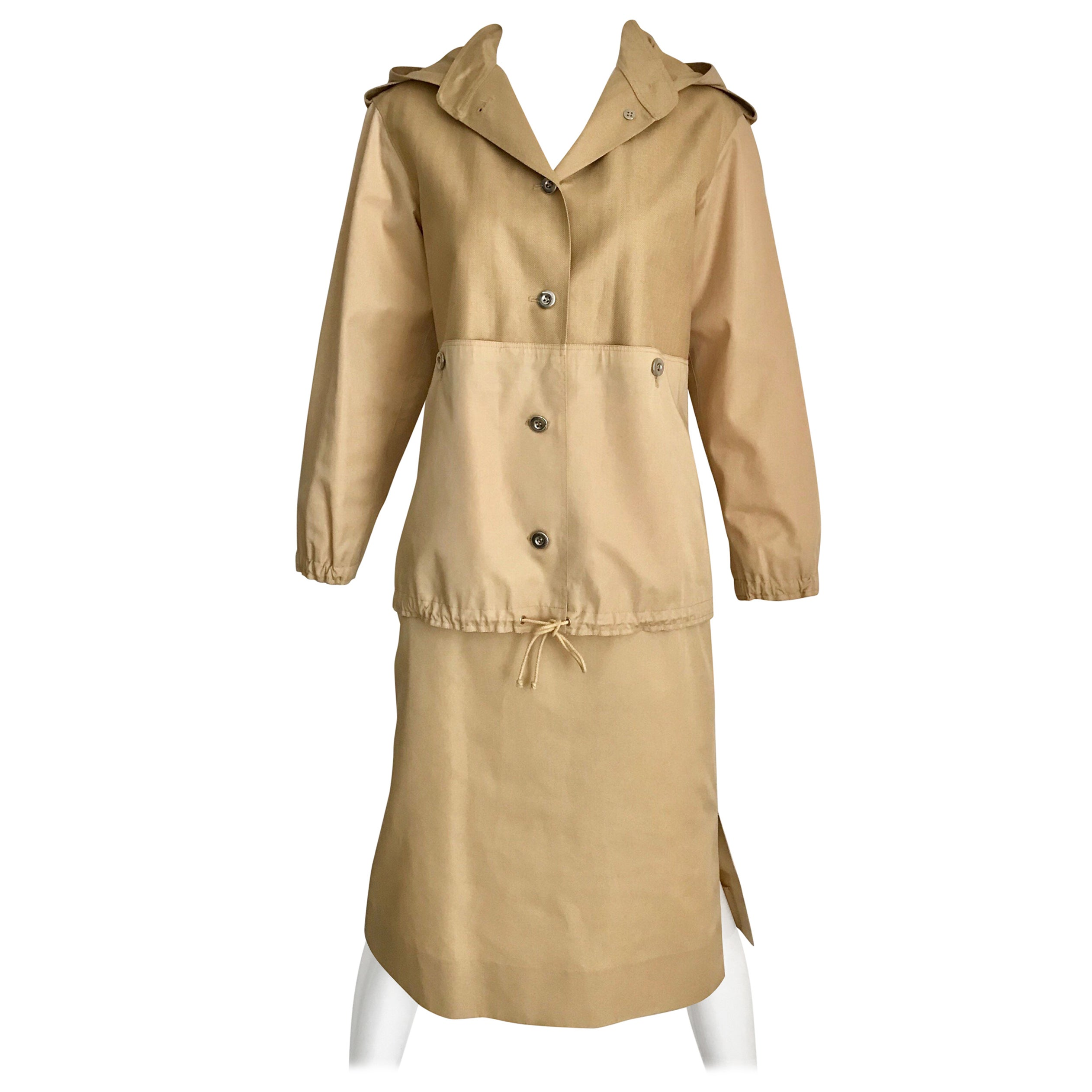 Vintage Courreges Tan Cotton Sport Coat and Skirt Set