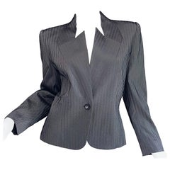 Vintage Givenchy Couture by Alexander McQueen Black and White Herringbone Jacket