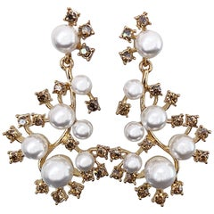 Oscar de la Renta Beautiful New Vintage Pearls + Rhinestones Chandelier Earrings