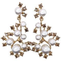 fb009a15c Oscar de la Renta Beautiful New Vintage Pearls + Rhinestones Chandelier  Earrings
