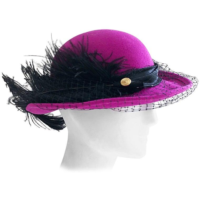 Avant Garde Michael Howard Fuchsia + Black Wool Ostrich Feather Vintage 80s Hat  For Sale