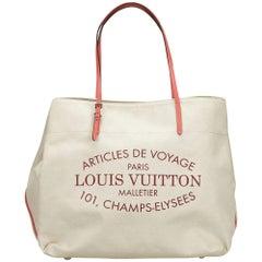 Louis Vuitton White / Ivory / Coral Articles de Voyage Cabas GM Handbag