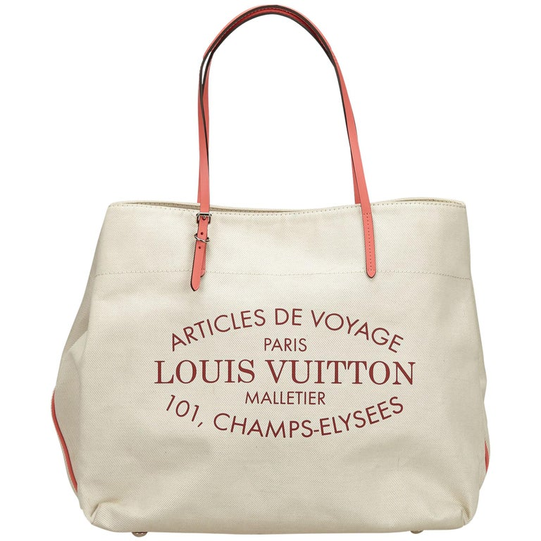 Louis Vuitton White Ivory C Articles De Voyage Cabas Gm Handbag For