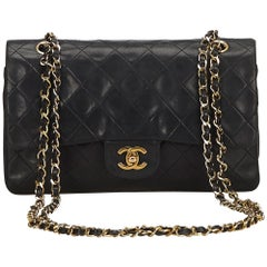 Chanel Black Classic Medium Lambskin Leather Double Flap Bag