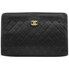 Chanel Black Quilted Lambskin Leather Portfolio Clutch Bag