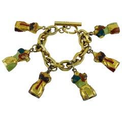 Jean Paul Gaultier Vintage Iconic Enameled Bust Charm Bracelet