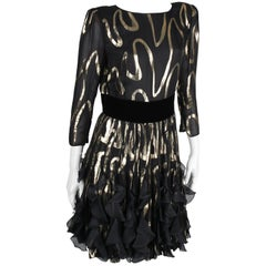 Valentino Black and Gold Vintage Silk Dress