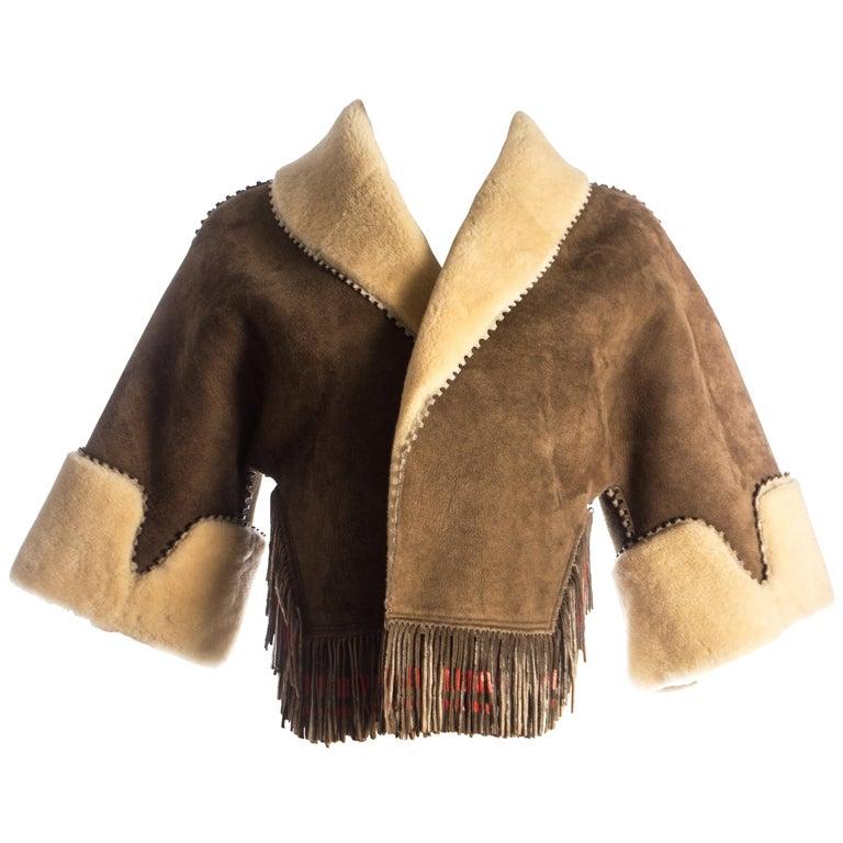 Azzedine Alaia brown shearling fringed bolero jacket, circa 1998