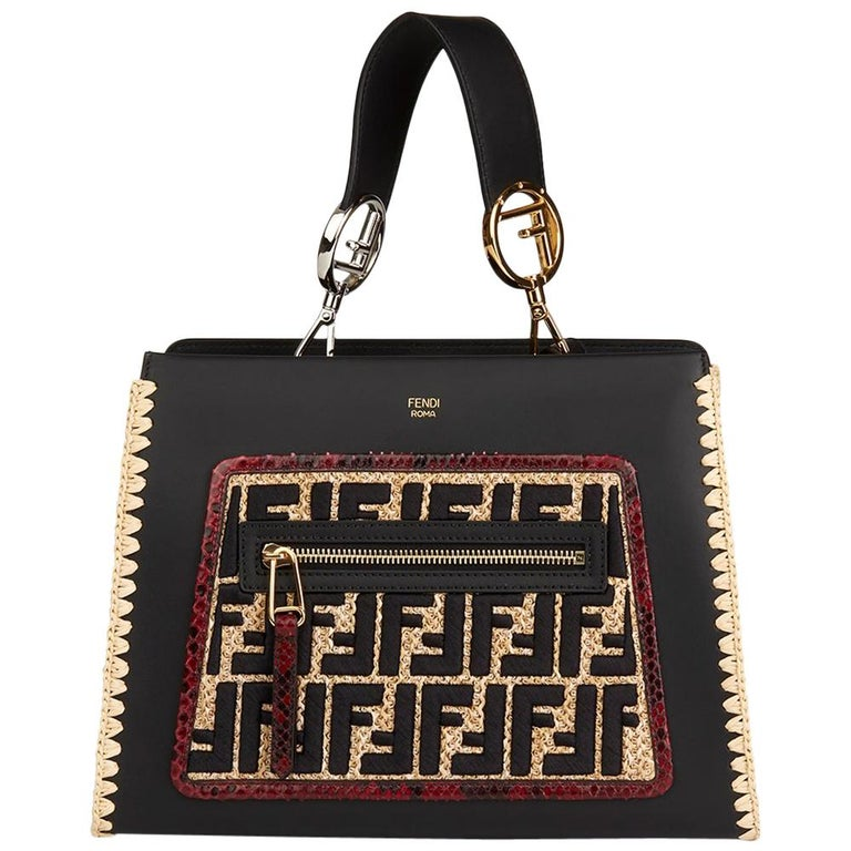 2018 Fendi Black Calfskin Leather, Embroidered Raffia & Red Python Leather Small