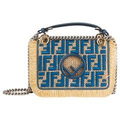 Fendi Blue Calfskin Leather & Embroidered Raffia Small Kan I F