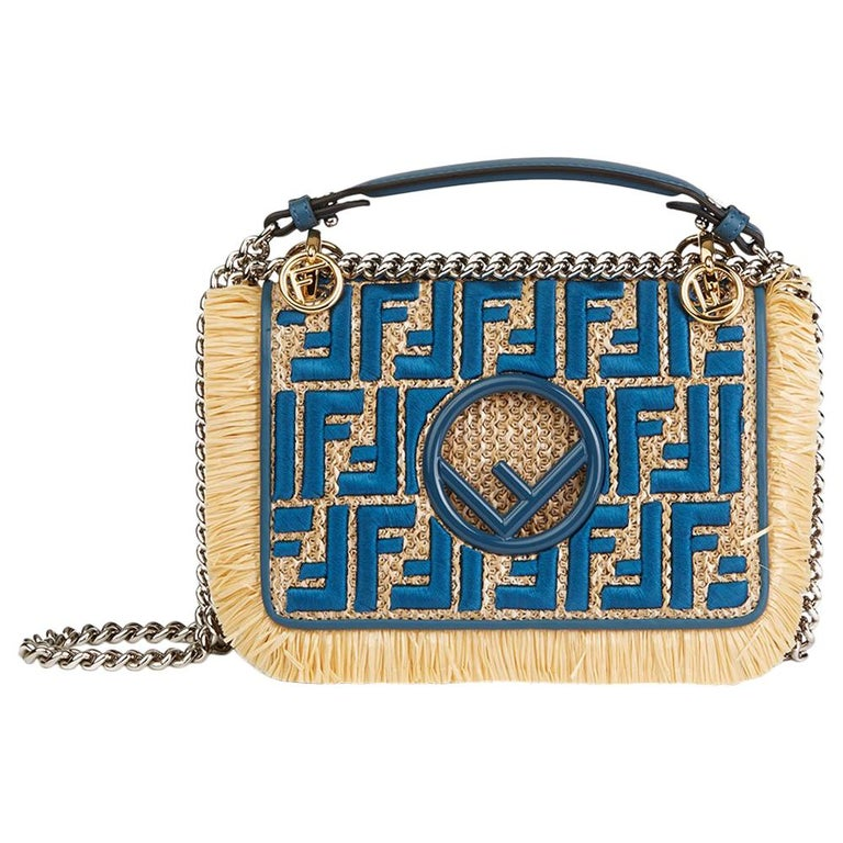61168949bd Fendi Blue Calfskin Leather   Embroidered Raffia Small Kan I F