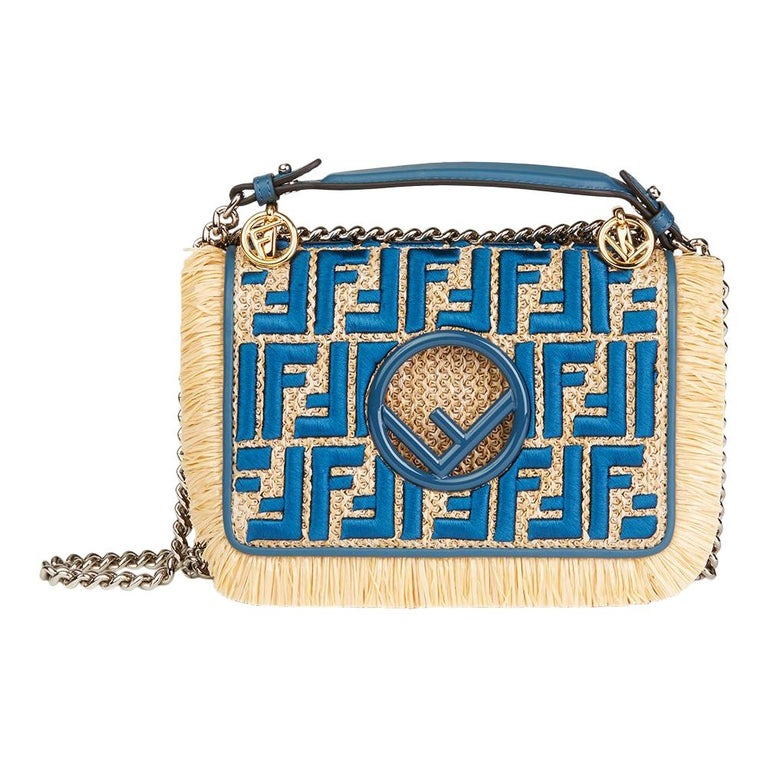 371a08956d46 Fendi Blue Calfskin Leather and Embroidered Raffia Small Kan I F Bag For  Sale.