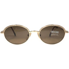 Mint Vintage Moschino Small Oval Gold 1990 Sunglasses Made in Italy