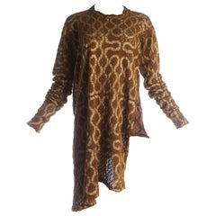 "Worlds End brown crochet knit ""Pirate"" top with gold squiggle print, A / W 1981"