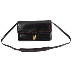 Hermes Vintage Black Leather Crossbody Bag