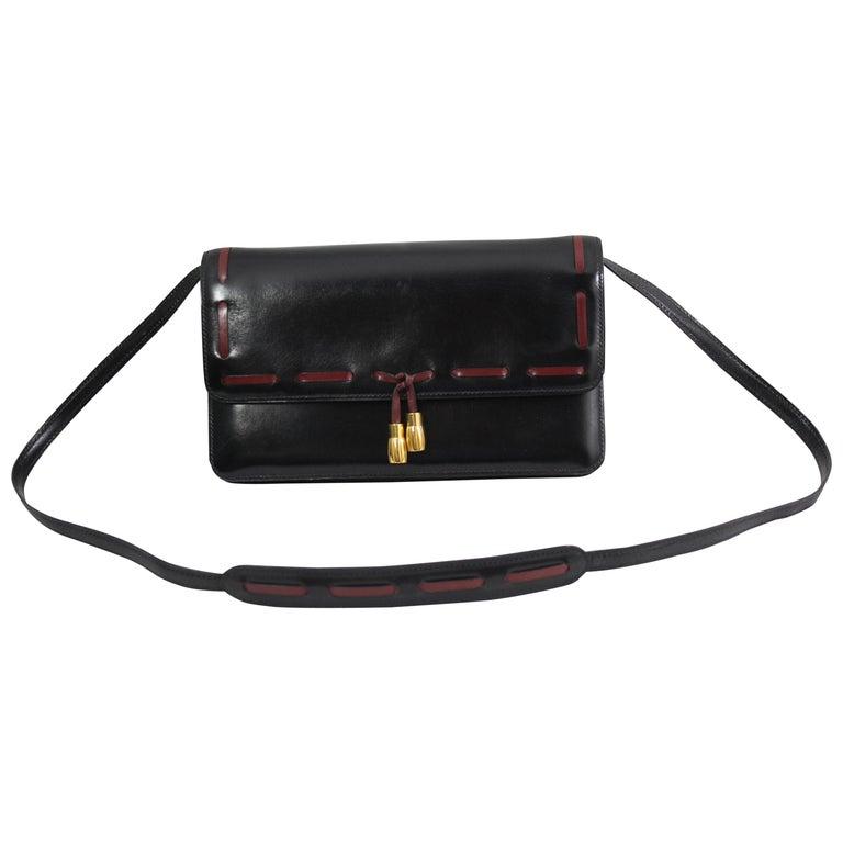 Hermes Vintage Black Leather Crossbody Bag For Sale at 1stdibs d364fe0857
