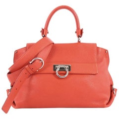 Salvatore Ferragamo Sofia Satchel Pebbled Leather Medium