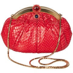 Vintage Judith Leiber Red Snake Skin Clutch Bag