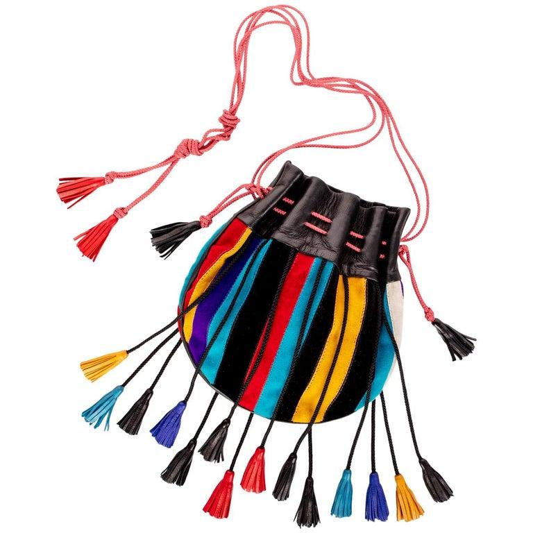 1970s Yves Saint Laurent Multicolored Leather Velvet Tassel Bag
