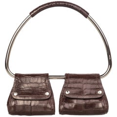 2000s Prada Brown Alligator Silver Hoop Bag