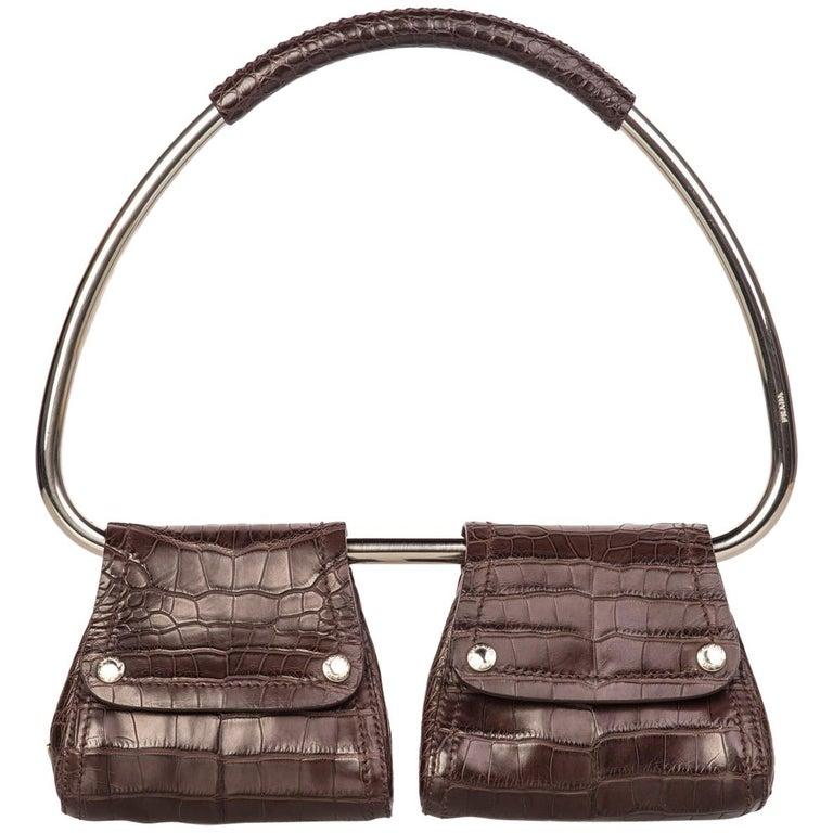 89e6d6e059db Prada Brown Alligator Silver Hoop Bag