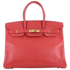 Hermes Birkin Handbag Rouge Vif Red Epsom with Gold Hardware 35