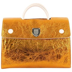 Christian Dior Diorever Handbag Metallic Leather Large