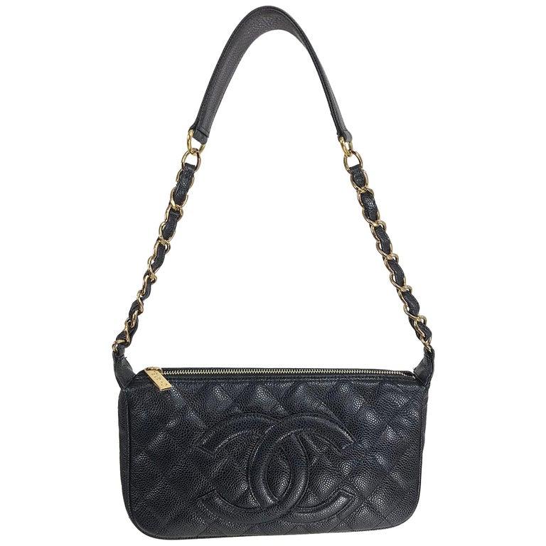 Chanel black caviar leather shoulder bag 2004 For Sale