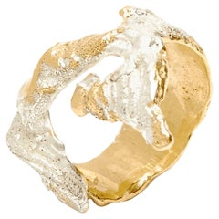 Loveness Lee Ela Gold and Silver textured ring