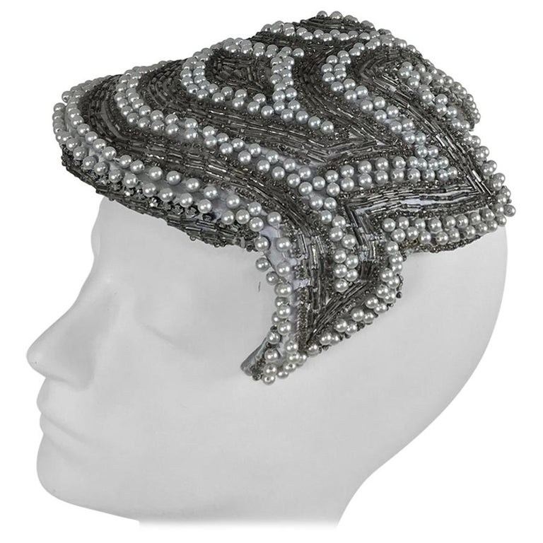 Designed by Lora silver beads and pearl cocktail hat 1950s For Sale