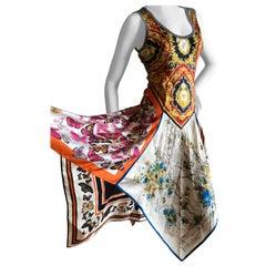 Dolce & Gabbana for D&G Vintage Silk Dress with Butterfly Print Handkerchief Hem