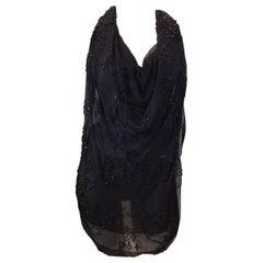 Bonnie Strauss Black Beaded Silk Blouse NWT