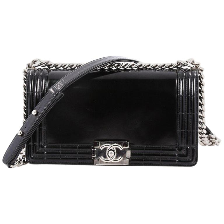 67f59ef7b402fb Chanel Reverso Boy Flap Bag Glazed Iridescent Calfskin Old Medium For Sale