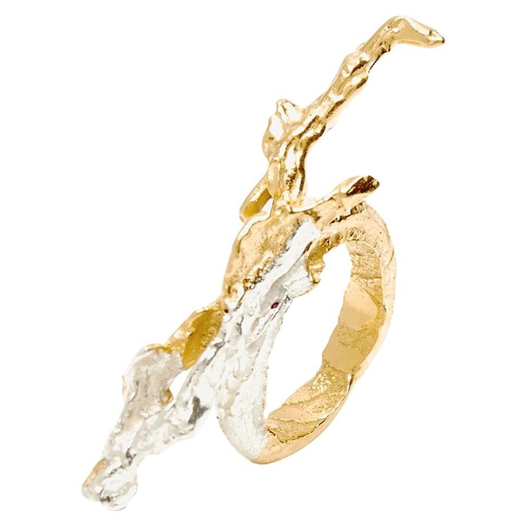 Loveness Lee Gaia Gold and Silver textured ring For Sale