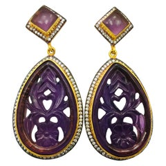 MEGHNA JEWELS Amethyst Carved Earrings