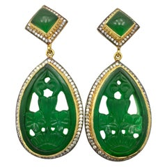 Meghna Jewels Emerald Green Carved Earrings