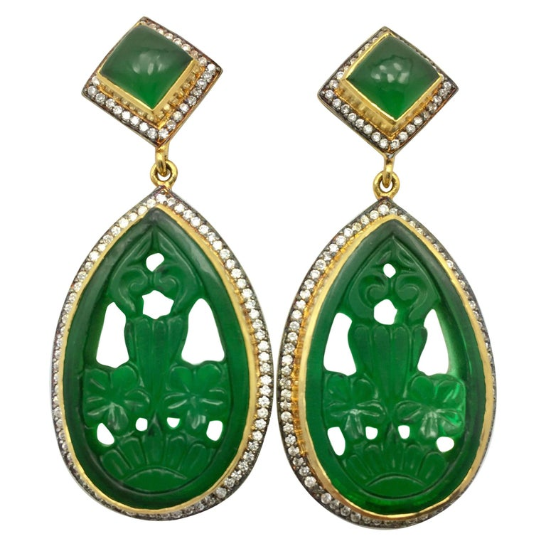 Faux Emerald Green Carved Earrings  For Sale