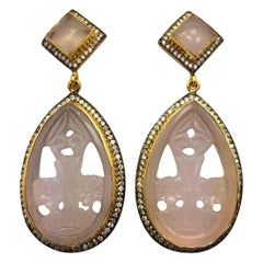 Meghna Jewels Faux Rose Quartz Carved Earrings